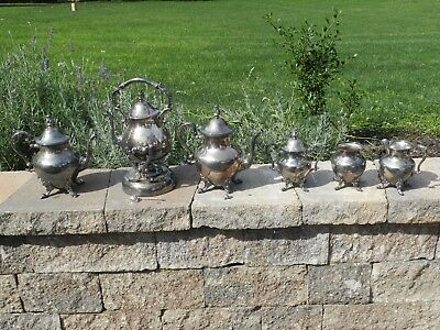 Vtg Silver On Copper Footed Teapot Coffee Tea Serving Set Creamer Sugar Warmer