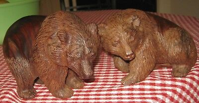 Pair of vintage well carved hard wood bears, heavy figures, realistic details