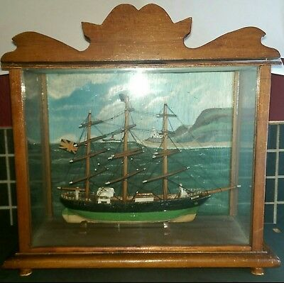 Antique VTG Wooden Ship Model Victoria in Glass Display Case Seascape Painting