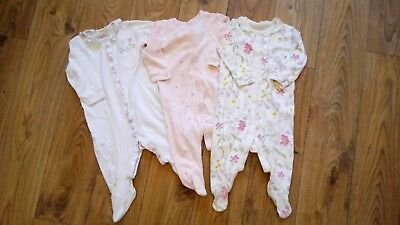 Next Baby Girl Floral Print Sleepsuits Babygrows Size 6-9 Months!