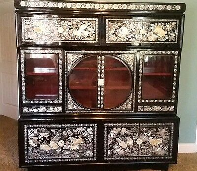 RARE - Korean Mother of Pearl Black Lacquer Wood Cabinet Furniture