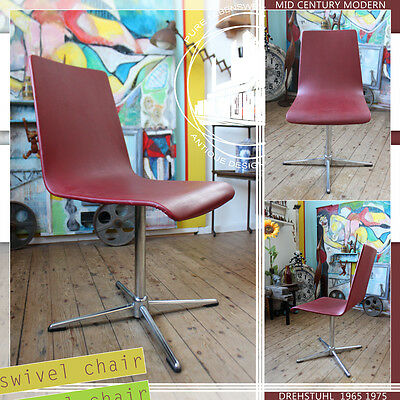 CHROME & SKAI VINTAGE MID CENTURY MODERN SWIVEL CHAIR STUHL 60ties 70ties DESIGN