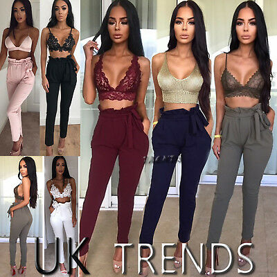 UK Womens High Waist Tie Paperbag Cigaratte Trousers Pants Ladies New Size6-14