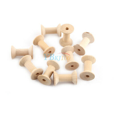 10x Wooden Empty Thread Spools Natural Color Sewing Vintage Craft 47mm x31mm SG