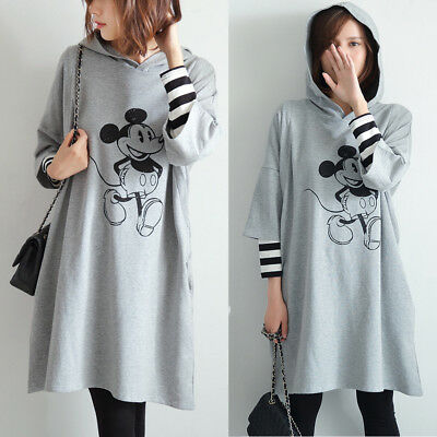 Nursing Breastfeeding Dress Sweatshirt Long Tunic Maternity Grey Cute 8 10 12