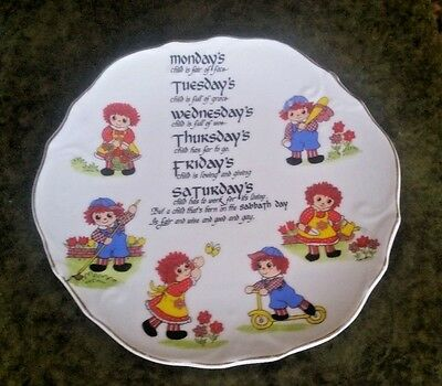 Vintage Raggedy Ann & Andy Plate MONDAY'S CHILD ETC~Days of the Week--Cute!