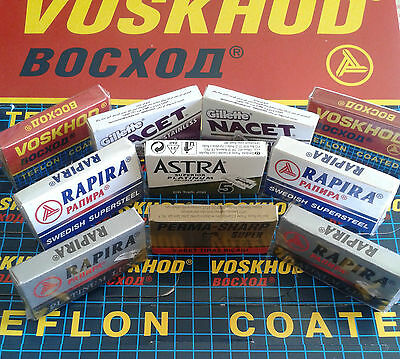 Selection Of 50x  Quality Russian Double Edge Safety Razor Blades + Pinewood Box