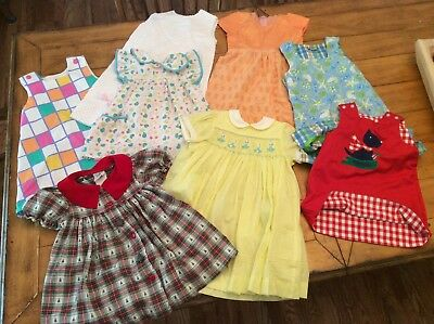8  Piece Lot Vintage mid century Girl Clothes A line Dresses -All Seasons 2 - 4T