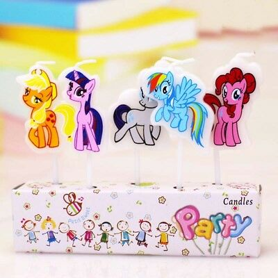 5 x My Little Pony (Design 2) Candles Happy Birthday Cake Toppers Party