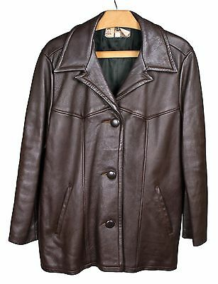 Vintage W.B. PLACE Brown Deerskin Leather 3 Button Jacket Women's Sz. 38 / Large