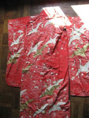 Vintage Red Gold Thread Embroidery Japanese Ceremonial Kimono
