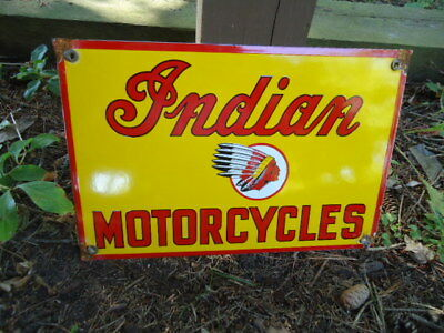 Vintage  Indian Motorcycle  Porcelain Dealer Advertising Sign