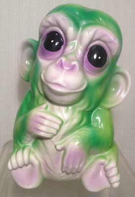 Purple and Green Vintage , Kitschy, Retro ceramic Monkey bank