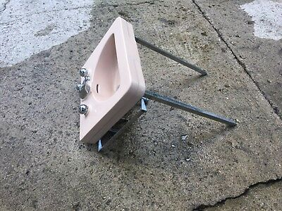 Mid Century Pink-ish (salmon?) Crane Bathroom Wall Mount Sink with legs