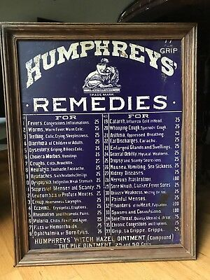 Humphrey's Remedies Tin / Metal Sign, Framed, Late 1800s, Early 1900s, 23 x 18.5