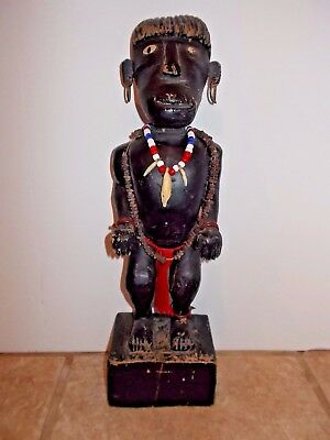 "Antique Tribe  African man Carved 12"" Tall Male Wood Statue Sculpture Estate"