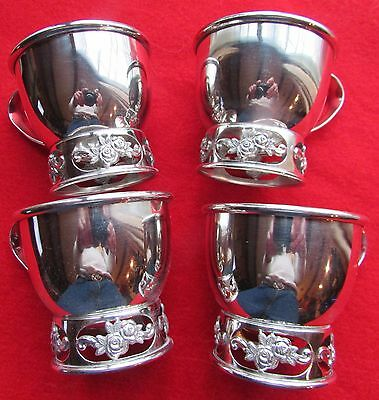 4 Demitasse Cups Twin Rose Matches Rogers Flatware Patterns Silver Plate 4 Ounce