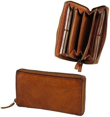 Rokker Lady Wallet Big Cognac Smart Purse from Leather with many compartments