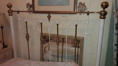 Antique 19th century Victorian brass and iron double bed
