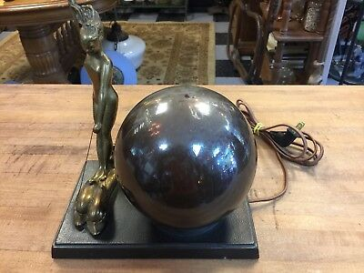 Antique Greist Nymph Riding Dolphins Lamp Mercury Globe Art Deco Frankart Era