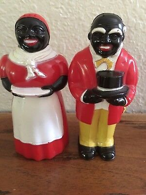 "Vintage F&f 5-1/4"" Aunt Jemima & Uncle Mose Salt & Pepper Shakers"