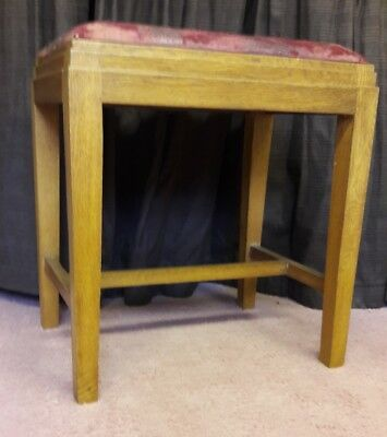 oak stool with leather seat. deco feel