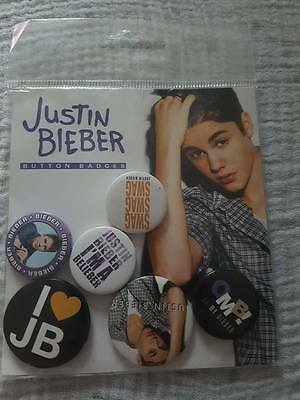 JUSTIN BIEBER pack of 6 Pin badges Brand new  official merchandise RRP £4.50