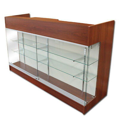 Item#ltrc6Che Cherry 6' Long Ledge-Top Checkout Counter With Showcase Front