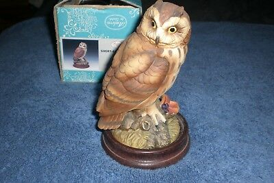 Andrea By Sadek SHORT-EARED OWL Porcelain Figurine With Wooden Base #7682