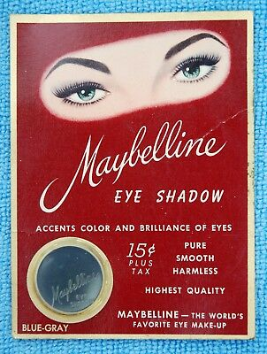 VINTAGE 1940's MAYBELLINE BLUE-GRAY CREAM EYESHADOW ON ORIGINAL CARD MAKEUP NOS