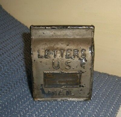 Candy Container US MAIL Letters Box Glass Souvenir old vintage antique silver