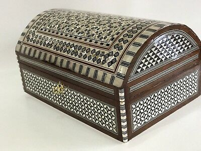 "Vintage Egyptian Mother of Pearl  Paua Inlaid Jewelry Box 10.5""X 7.5"" Made in Eg"