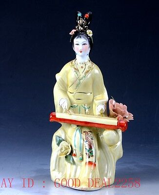 Chinese Porcelain Handwork Carved Beauty Pattern Statue CX016