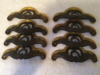 8 Antique Vintage Art Deco Waterfall Hardware Drawer Pulls with Bakelite