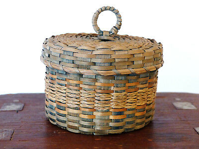 ANTIQUE Ash Sweetgrass PENOBSCOT Native American INDIAN Sewing BASKET #2
