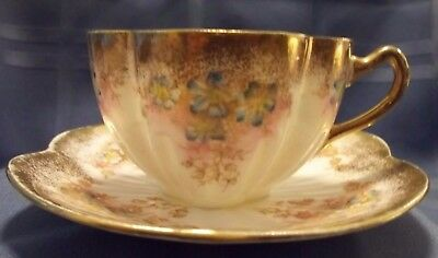 Vintage Shell Shape Tea Cup and Saucer Gold Trim Blue Forget Me Nots Marked 2003