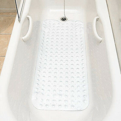 Extra Long Mould Free Non Slip Shower or Bath Mat - Comfortable and Safe - White
