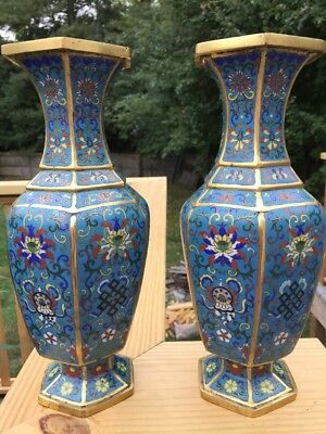 "Vtg Pr Art Deco Gilt Copper Chinese Cloisonne 11"" Vases Mint Old"