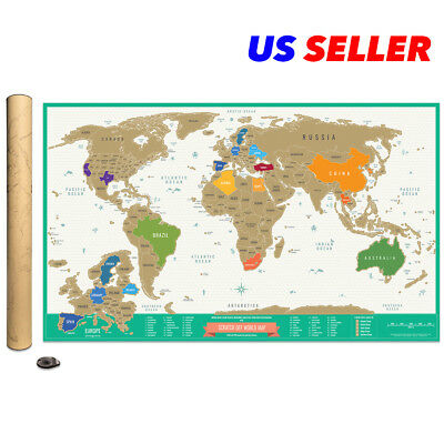 Deluxe Scratch Off Travel Tracker World Map Detailed USA and Europe Gift Package
