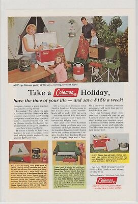 Coleman Camping Cooler Stove Holiday July 1966 Vintage Ad