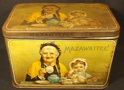 "C.1910 Litho Old Folks At Home Tea Tin ""granny & Grand Daughter"" Mazawattee Tea."