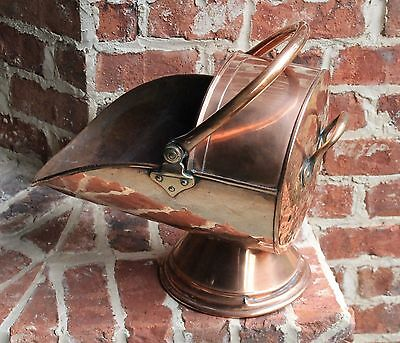 Antique French Copper Fireplace Hearth Coal Hod Scuttle Farmhouse Cottage