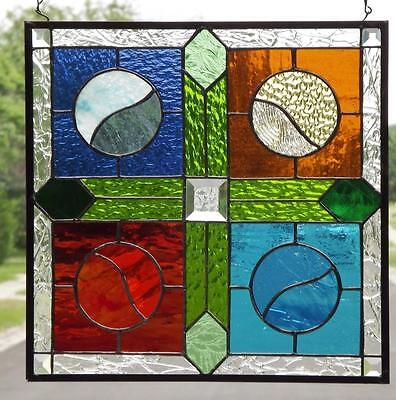 """• PLAY BALL •Stained Glass Window Panel • 16 ¼""""X16 ¼"""" (41.5 CM)"""