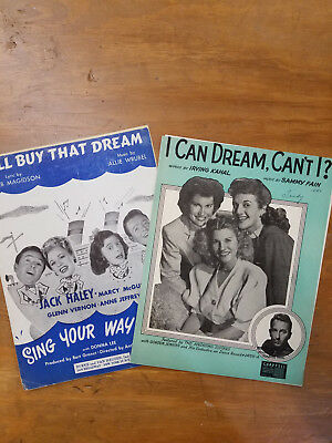 Vintage Sheet Music - 2 Pack - I'll Buy That Dream & I Can Dream Can't I