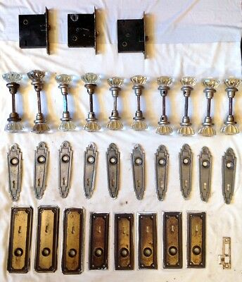 20 Vintage 12-Point Glass Door Knobs Spindles Back & Face Plates Mortise Locks