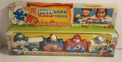 Vintage SMURFS Wind-Up Train From 1982 (MINT IN THE BOX)