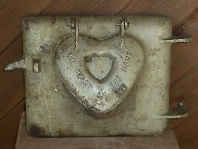 Rare Original Old Early Heart Of The Home Complete Cast Iron Heart Stove Door