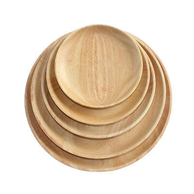 Round Wood Plate Breakfast Food Dish Snack Serving Tray Salad Bowl Platter Plate