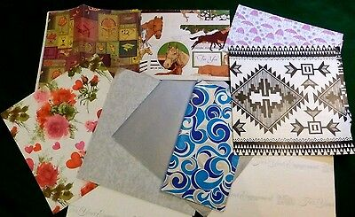 Lot Vintage Gift Wrap Paper Sheets Horses Southwest Flowers Shower Silver
