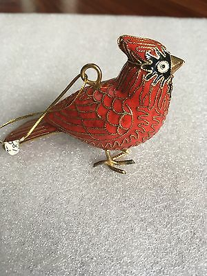 Chinese Old Red Cloisonne Handmade Carved Cardinal Bird Statue Ornament